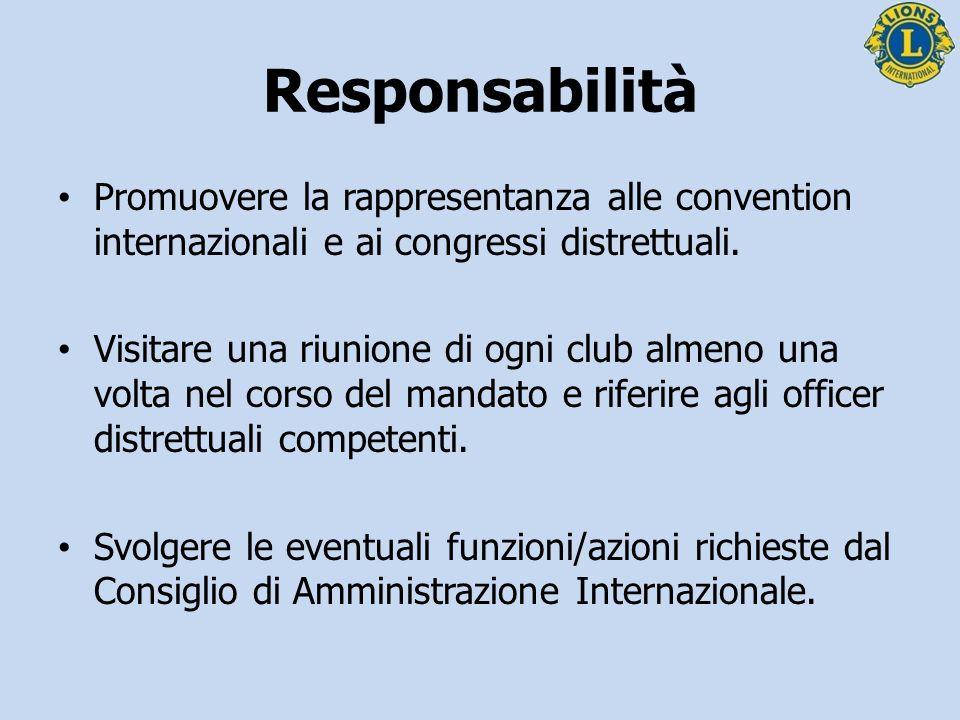 Promuovere la rappresentanza alle convention internazionali e ai congressi distrettuali. Visitare una riunione di ogni club almeno una volta nel corso