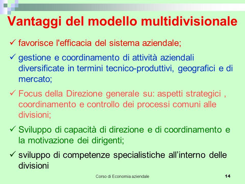 Vantaggi del modello multidivisionale favorisce l'efficacia del sistema aziendale; gestione e coordinamento di attività aziendali diversificate in ter
