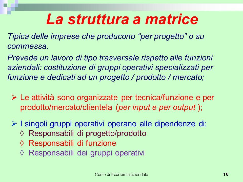 """La struttura a matrice Tipica delle imprese che producono """"per progetto"""" o su commessa. Prevede un lavoro di tipo trasversale rispetto alle funzioni a"""