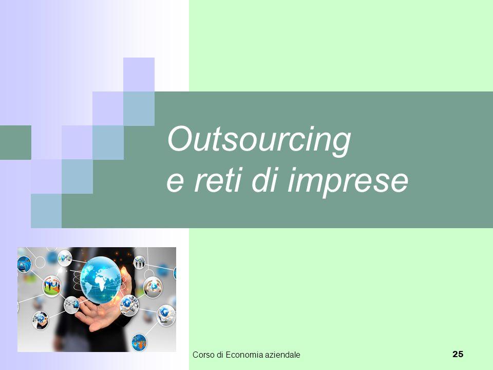 Outsourcing e reti di imprese Corso di Economia aziendale 25