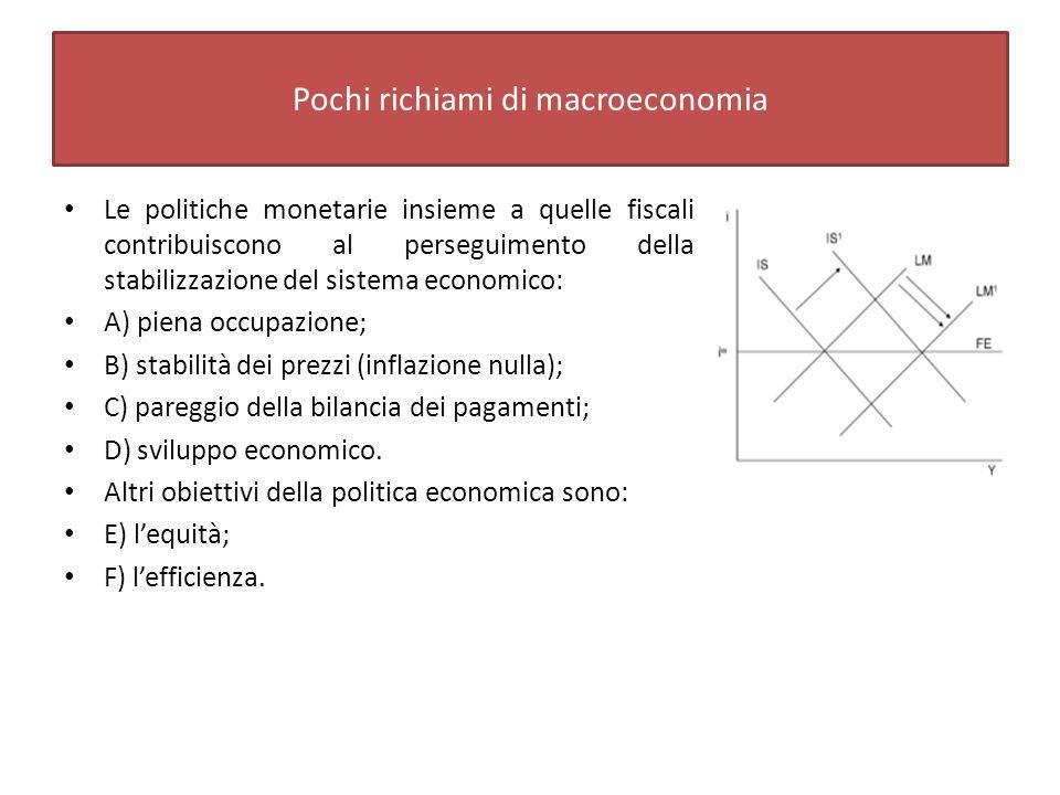 Pochi richiami di macroeconomia Le politiche monetarie insieme a quelle fiscali contribuiscono al perseguimento della stabilizzazione del sistema economico: A) piena occupazione; B) stabilità dei prezzi (inflazione nulla); C) pareggio della bilancia dei pagamenti; D) sviluppo economico.