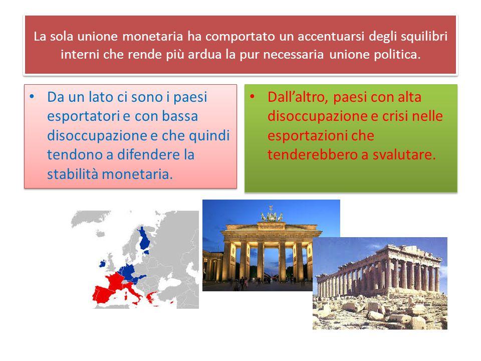 Irreversibilità dell'Euro Gli squilibri cui abbiamo fatto cenno, hanno condotto a due posizioni politiche ed economiche: A) maggiore autonomia nazionale e uscita dalla moneta unica; B) continuare con il «rigore» fiscale attraverso il quale migliorare il coordinamento con la politica monetaria.