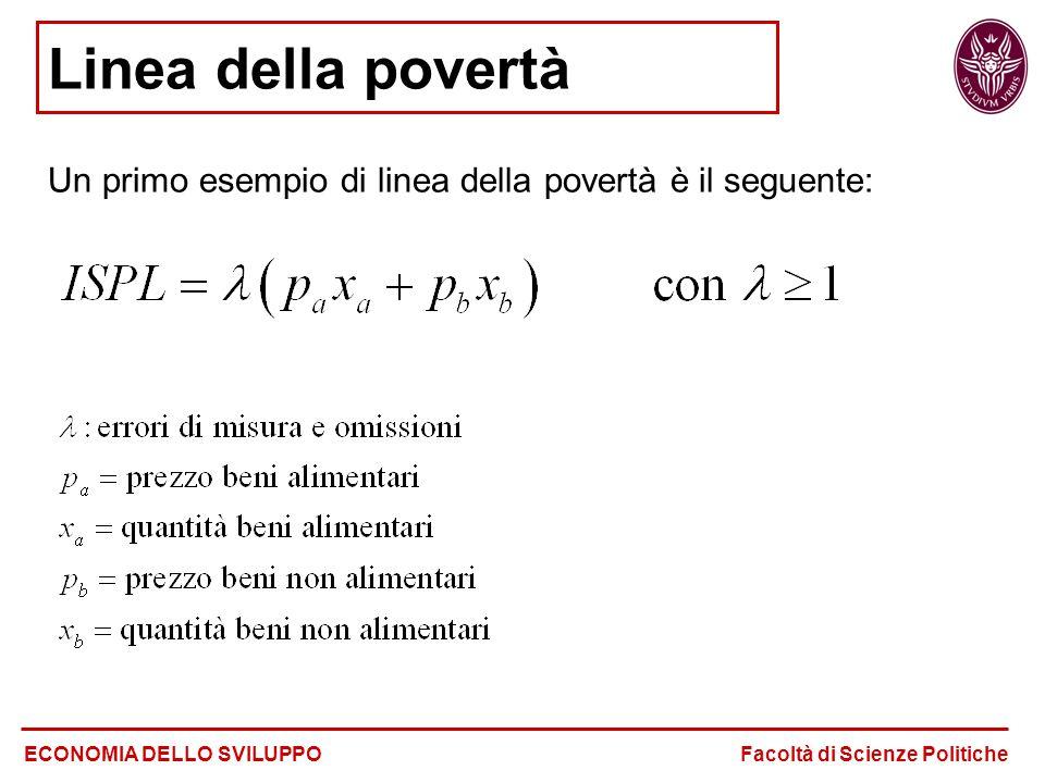 Linea della povertà Un primo esempio di linea della povertà è il seguente: ECONOMIA DELLO SVILUPPO Facoltà di Scienze Politiche