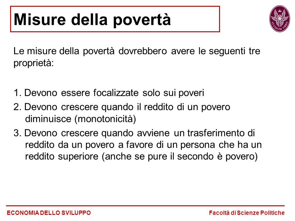 Misure della povertà Le misure della povertà dovrebbero avere le seguenti tre proprietà: ECONOMIA DELLO SVILUPPO Facoltà di Scienze Politiche 1.
