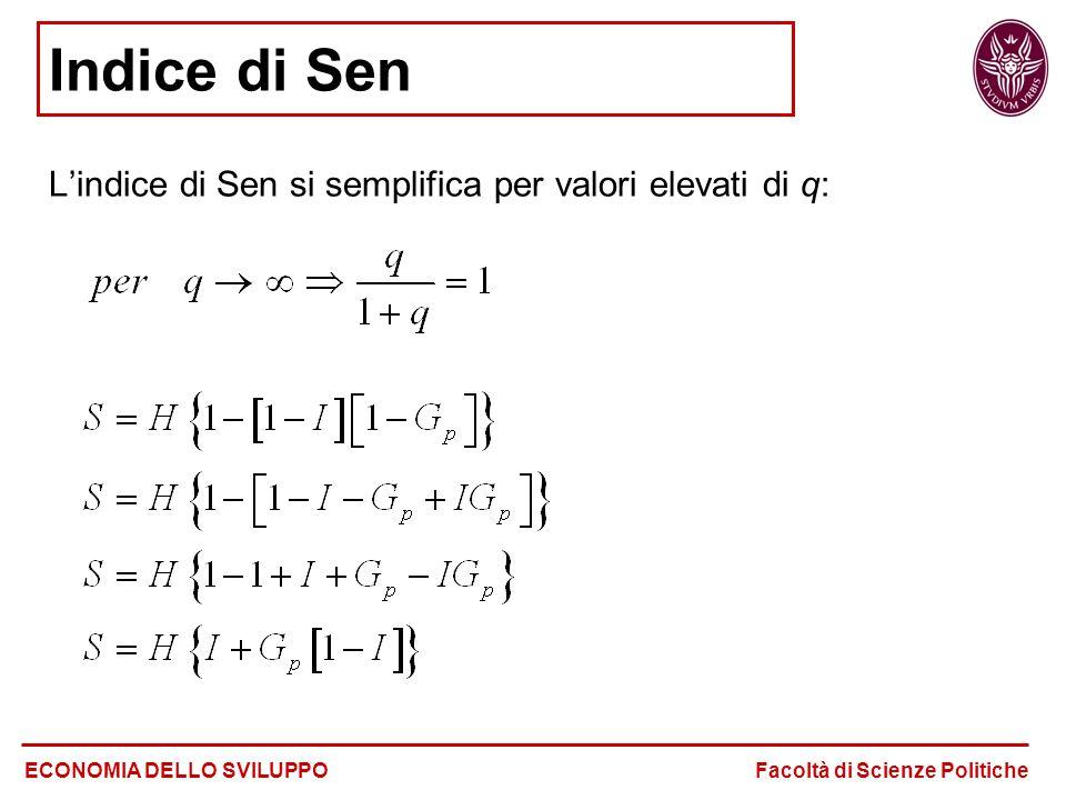 Indice di Sen L'indice di Sen si semplifica per valori elevati di q: ECONOMIA DELLO SVILUPPO Facoltà di Scienze Politiche