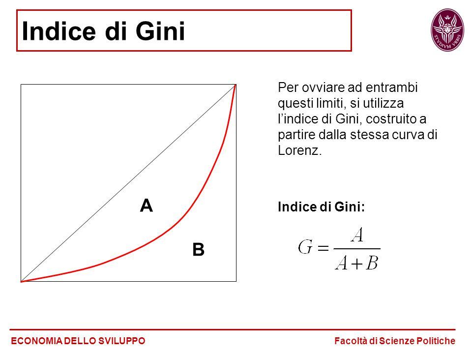 Indice di Gini Per ovviare ad entrambi questi limiti, si utilizza l'indice di Gini, costruito a partire dalla stessa curva di Lorenz. Indice di Gini: