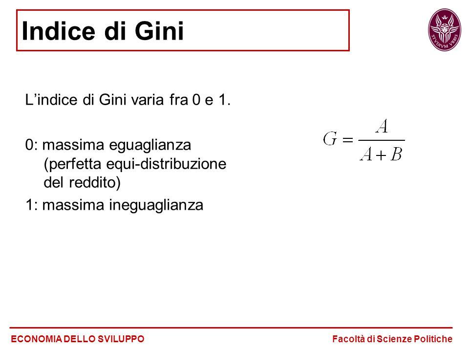 Indice di Gini L'indice di Gini varia fra 0 e 1. 0: massima eguaglianza (perfetta equi-distribuzione del reddito) 1: massima ineguaglianza ECONOMIA DE