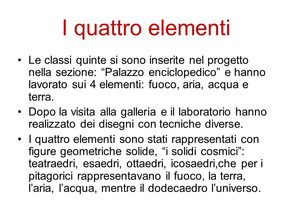 """I quattro elementi Le classi quinte si sono inserite nel progetto nella sezione: """"Palazzo enciclopedico"""" e hanno lavorato sui 4 elementi: fuoco, aria,"""