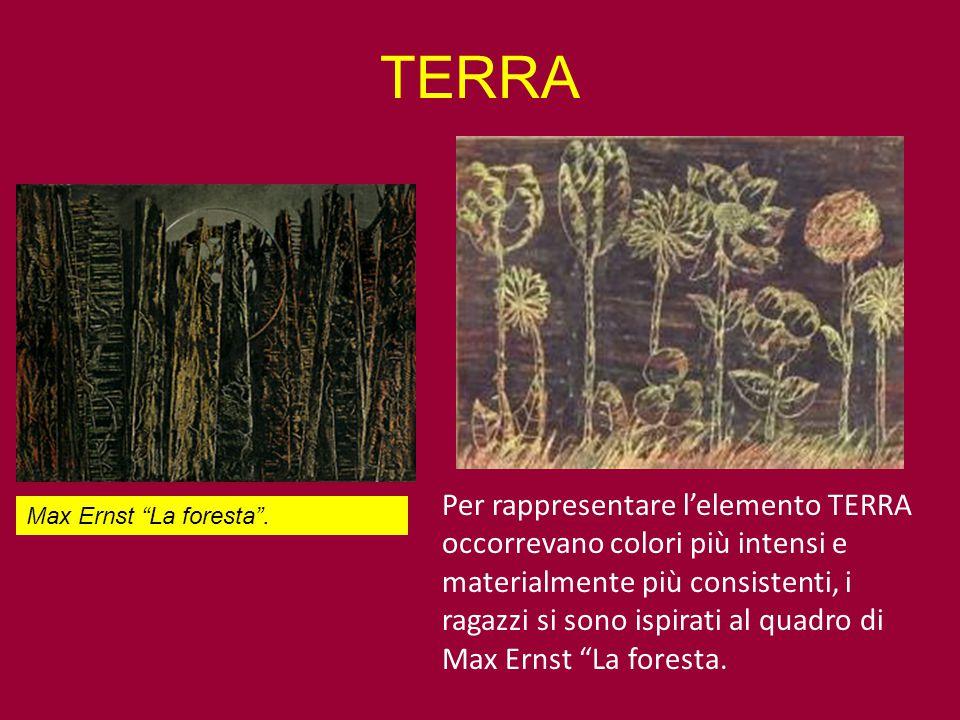 """Per rappresentare l'elemento TERRA occorrevano colori più intensi e materialmente più consistenti, i ragazzi si sono ispirati al quadro di Max Ernst """""""