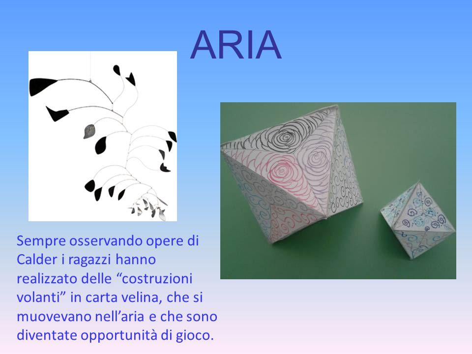 """ARIA Sempre osservando opere di Calder i ragazzi hanno realizzato delle """"costruzioni volanti"""" in carta velina, che si muovevano nell'aria e che sono d"""