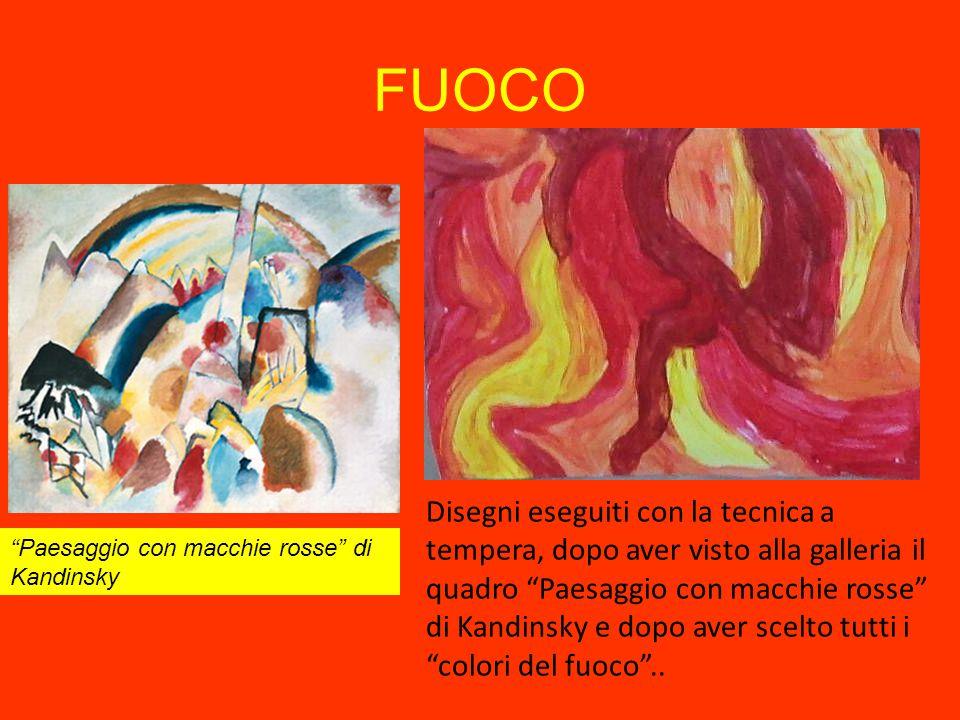 """Disegni eseguiti con la tecnica a tempera, dopo aver visto alla galleria il quadro """"Paesaggio con macchie rosse"""" di Kandinsky e dopo aver scelto tutti"""