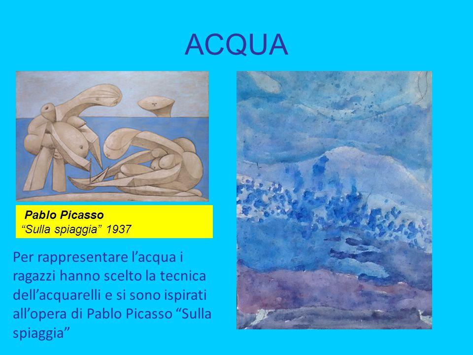 """ACQUA Per rappresentare l'acqua i ragazzi hanno scelto la tecnica dell'acquarelli e si sono ispirati all'opera di Pablo Picasso """"Sulla spiaggia"""" Pablo"""