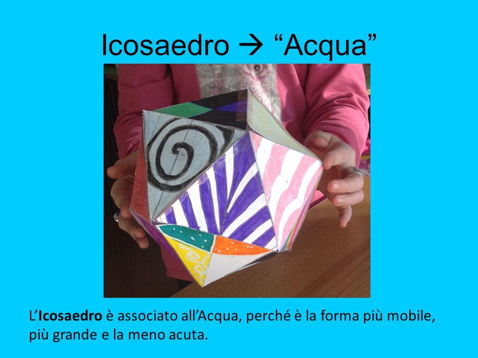 """Icosaedro  """"Acqua"""" L'Icosaedro è associato all'Acqua, perché è la forma più mobile, più grande e la meno acuta."""