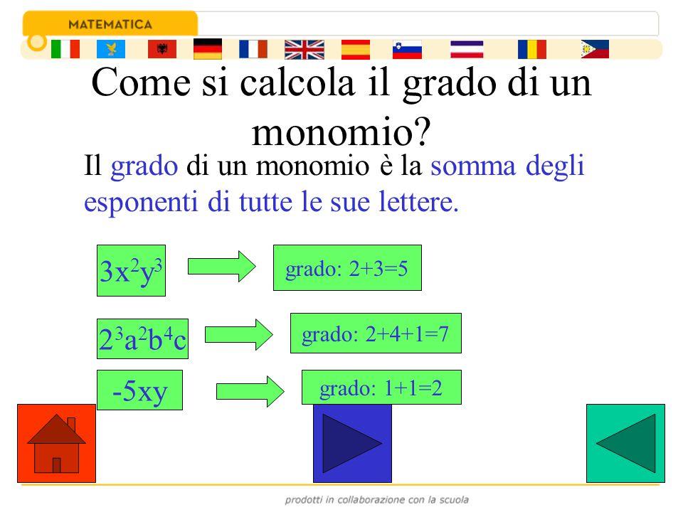 Come si calcola il grado di un monomio? Il grado di un monomio è la somma degli esponenti di tutte le sue lettere. 3x 2 y 3 grado: 2+3=5 23a2b4c23a2b4