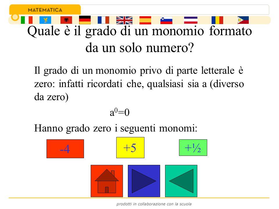 Quale è il grado di un monomio rispetto ad una lettera.