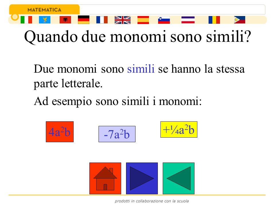 Quando due monomi sono simili? Due monomi sono simili se hanno la stessa parte letterale. Ad esempio sono simili i monomi: 4a 2 b -7a 2 b +¼a 2 b