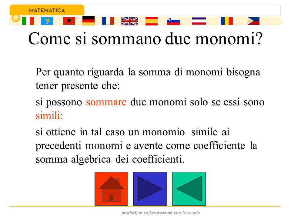 Ad esempio: I due monomi +5a 3 b 2 e -2a 3 b 2 sono simili e quindi possono essere sommati ed il monomio somma è: (+5a 3 b 2 ) + (-2a 3 b 2 ) = (+5-2) a 3 b 2 =+3a 3 b 2 +5a3b2a3b2 + -2a3b2a3b2 = +3a3b2a3b2