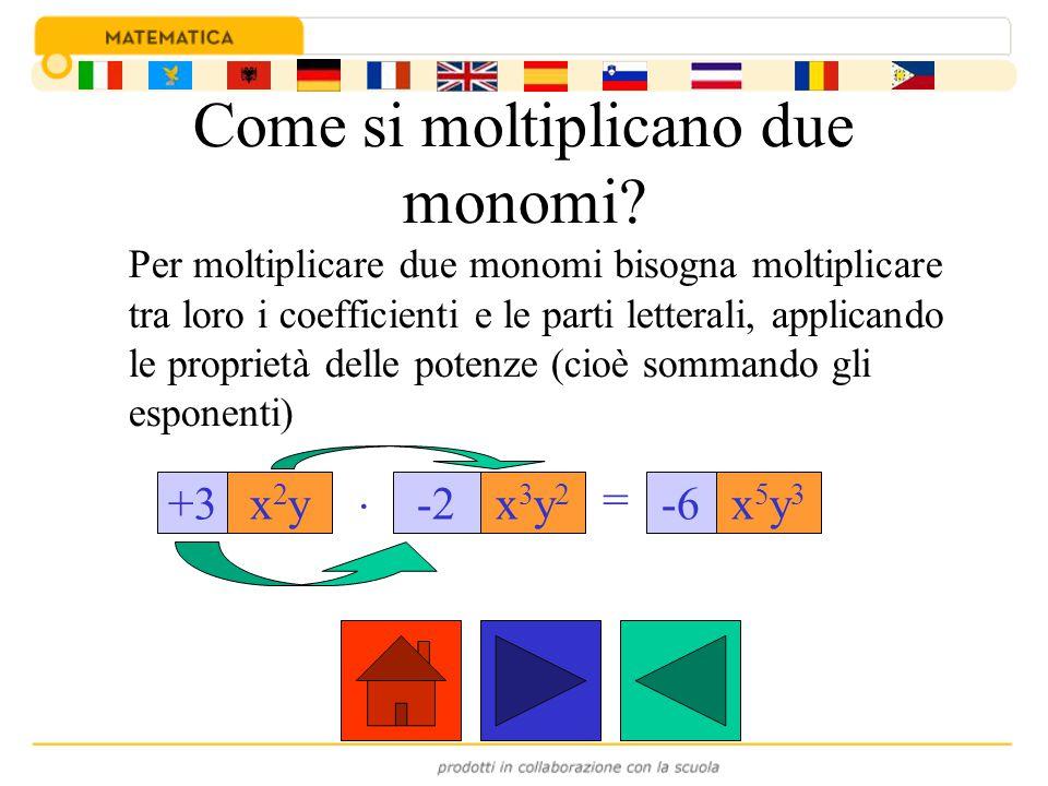 Come si moltiplicano due monomi? Per moltiplicare due monomi bisogna moltiplicare tra loro i coefficienti e le parti letterali, applicando le propriet