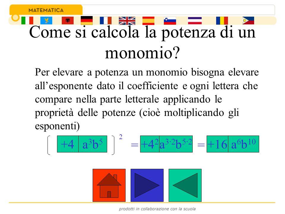 Esempi: (-2x 2 y 3 ) 3 =(-2) 3 x 2·3 y 3·3 =-8x 6 y 9 (-½bc 4 ) 2 =(-½) 2 b 2 c 4·2 =+¼b 2 c 8 (+3x -1 y 2 ) 2 = (+3) 2 x -1·2 y 2·2 =+9x -2 y 4