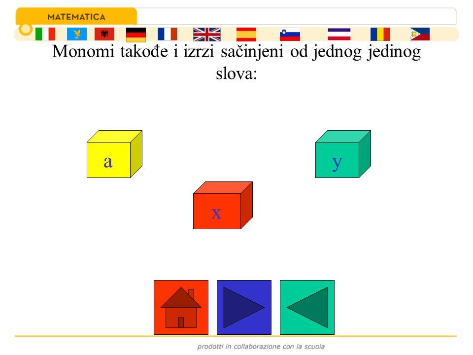 Monomi takođe i izrzi sačinjeni od jednog jedinog slova: a x y