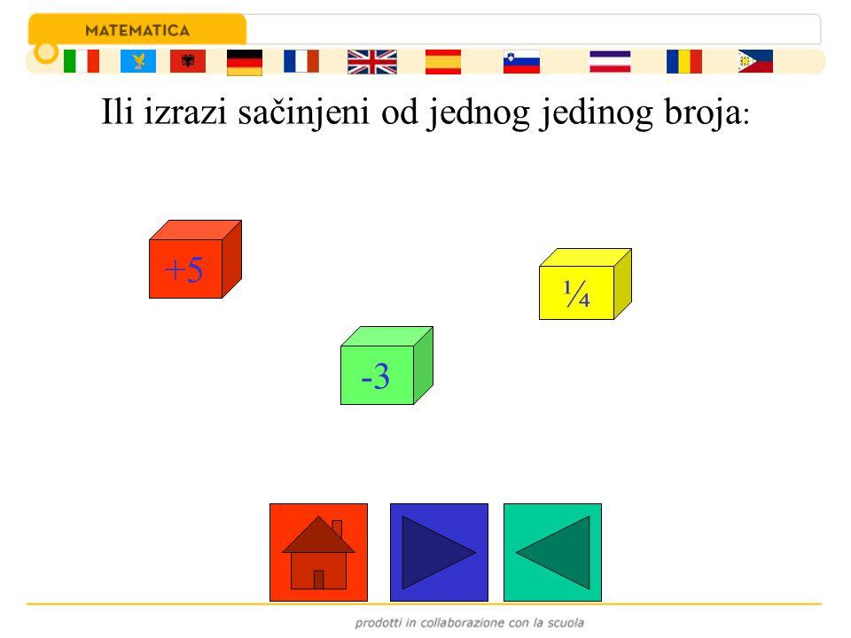 Ili izrazi sačinjeni od jednog jedinog broja : +5 -3 ¼
