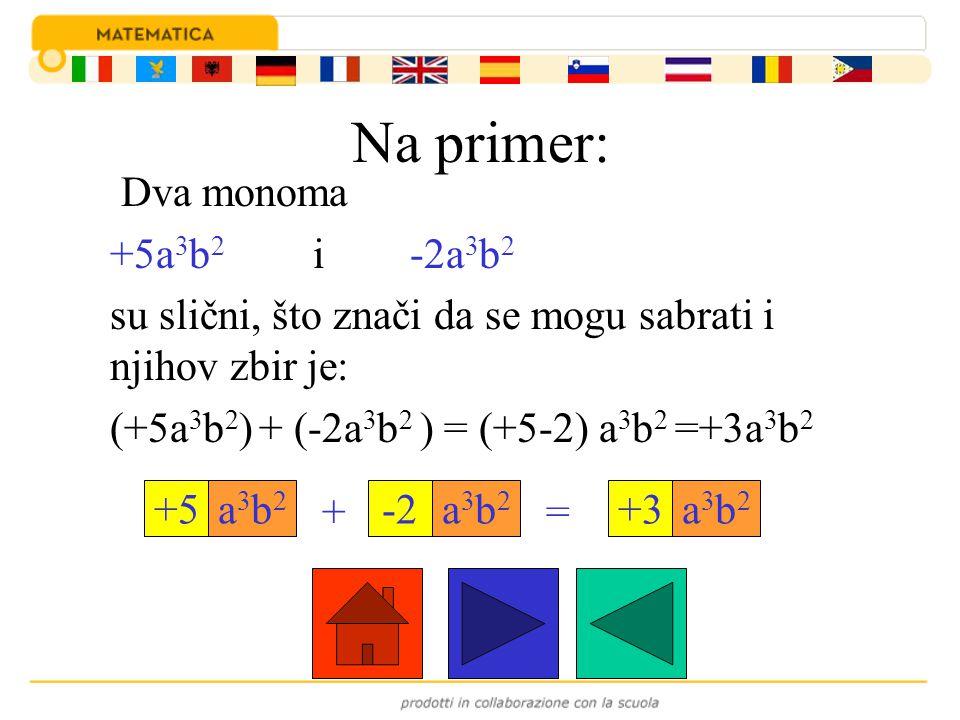 Na primer: Dva monoma +5a 3 b 2 i -2a 3 b 2 su slični, što znači da se mogu sabrati i njihov zbir je: (+5a 3 b 2 ) + (-2a 3 b 2 ) = (+5-2) a 3 b 2 =+3