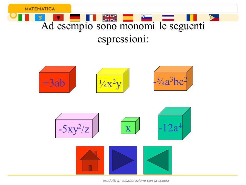 Ad esempio sono monomi le seguenti espressioni: ¼x 2 y -¾a 3 bc 2 -5xy 2 /z x -12a 4 +3ab