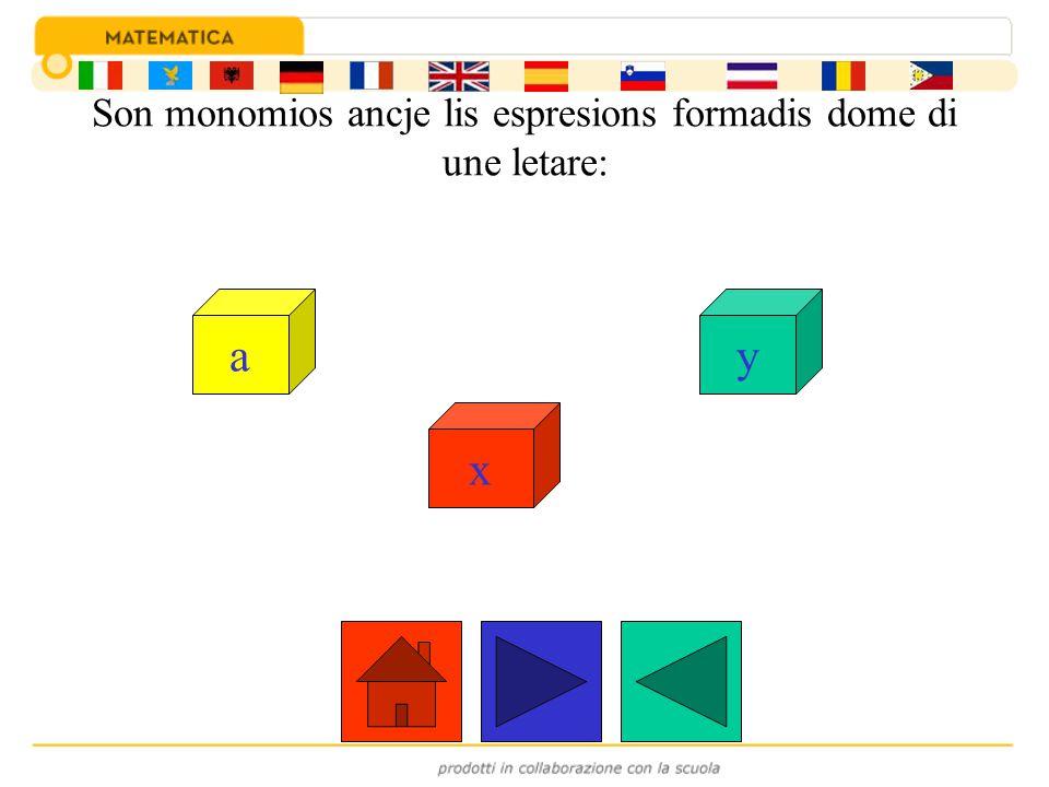 Son monomios ancje lis espresions formadis dome di une letare: a x y