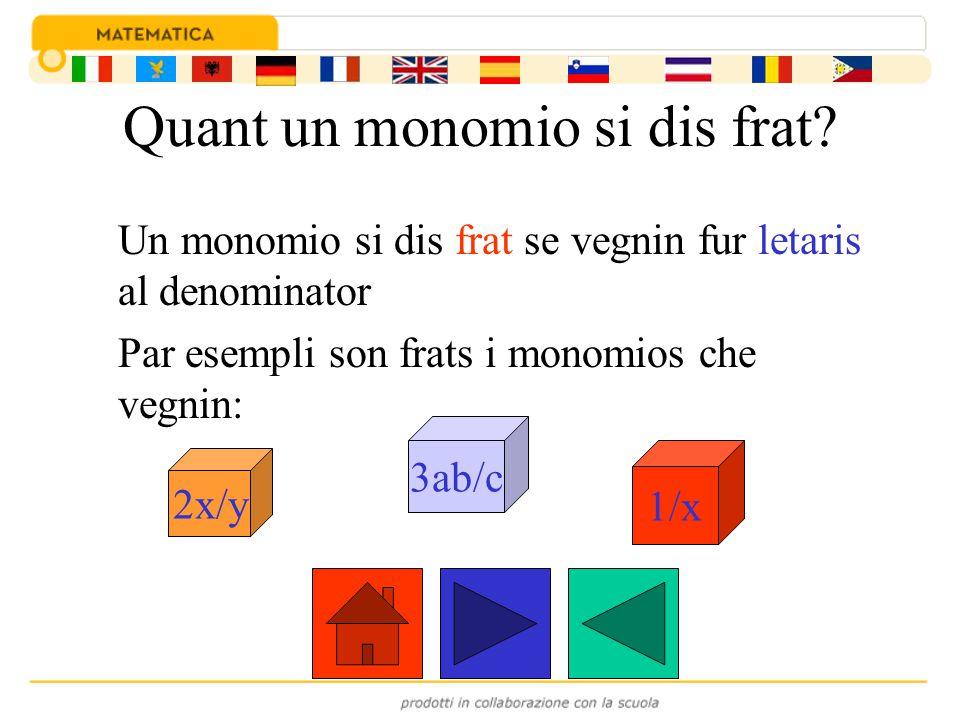 Quant un monomio si dis frat? Un monomio si dis frat se vegnin fur letaris al denominator Par esempli son frats i monomios che vegnin: 2x/y 3ab/c 1/x