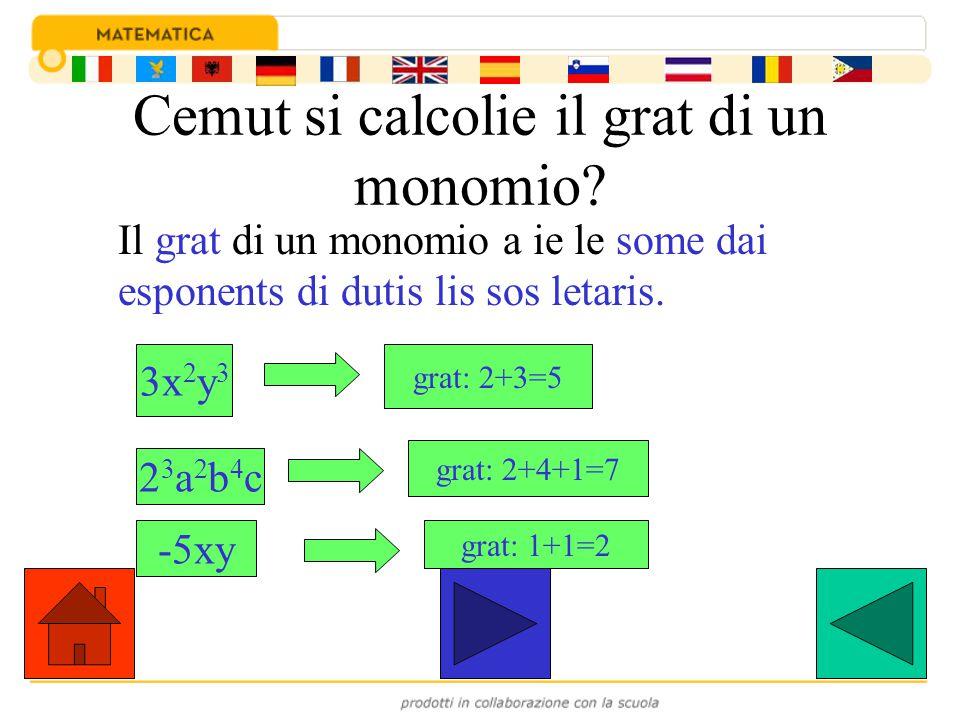 Cemut si calcolie il grat di un monomio? Il grat di un monomio a ie le some dai esponents di dutis lis sos letaris. 3x 2 y 3 grat: 2+3=5 23a2b4c23a2b4
