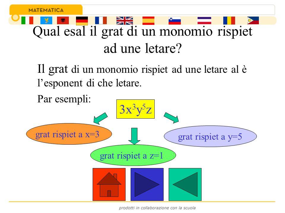 Qual esal il grat di un monomio rispiet ad une letare? Il grat di un monomio rispiet ad une letare al è l'esponent di che letare. Par esempli: 3x 3 y