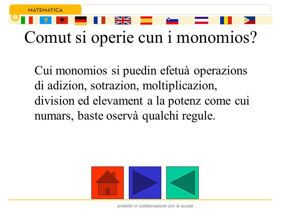 Comut si operie cun i monomios? Cui monomios si puedin efetuà operazions di adizion, sotrazion, moltiplicazion, division ed elevament a la potenz come