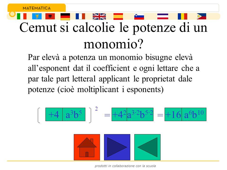 Cemut si calcolie le potenze di un monomio? Par elevà a potenza un monomio bisugne elevà all'esponent dat il coefficient e ogni lettare che a par tale