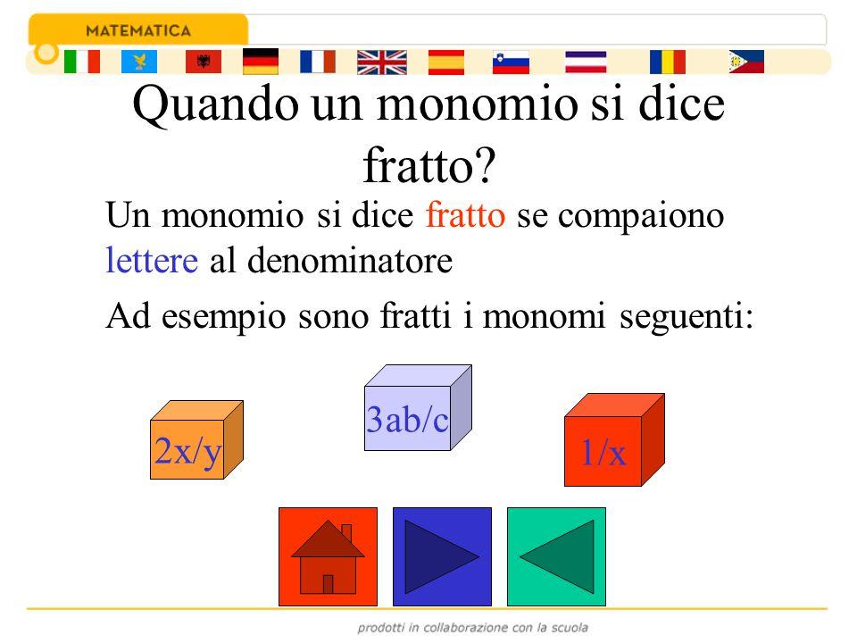 In un monomio si distinguono: una parte numerica, detta coefficiente una parte letterale Ad esempio nel monomio si distinguono: il coefficiente ¾ e la parte letterale a 3 b 5 ¾ ¾a 3 b 5 a3b5a3b5