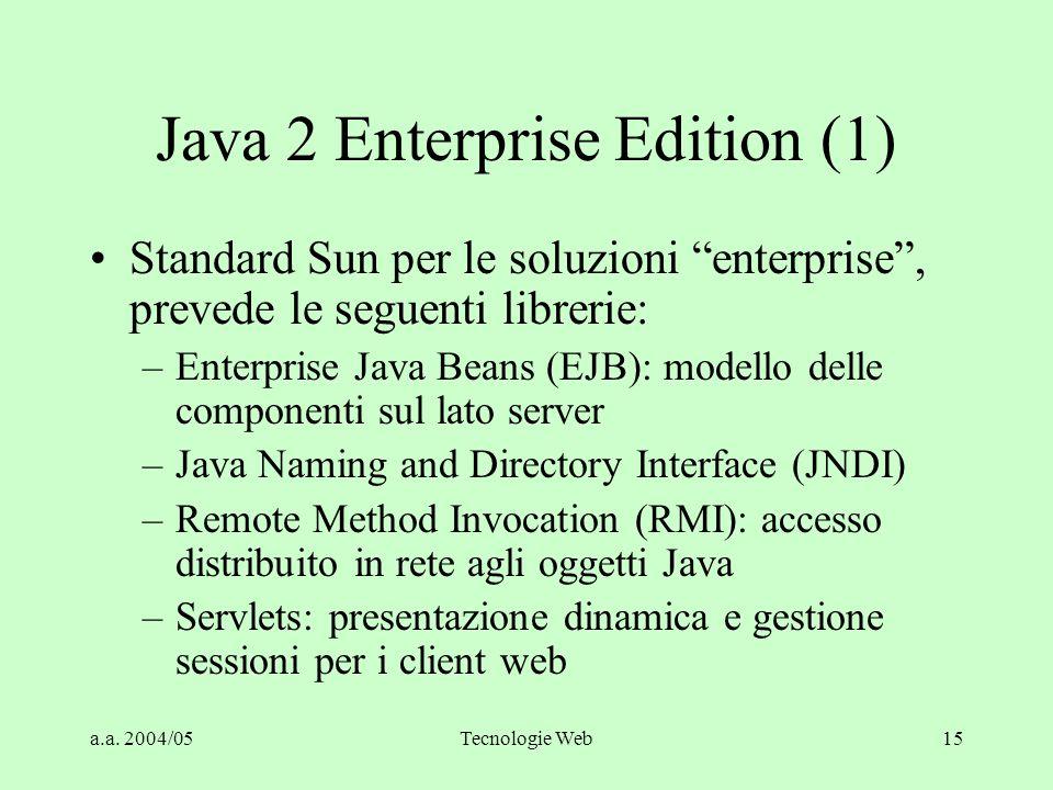 "a.a. 2004/05Tecnologie Web15 Java 2 Enterprise Edition (1) Standard Sun per le soluzioni ""enterprise"", prevede le seguenti librerie: –Enterprise Java"