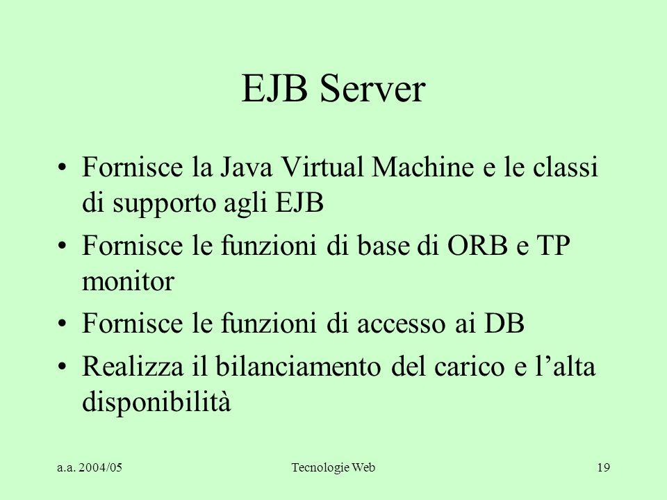 a.a. 2004/05Tecnologie Web19 EJB Server Fornisce la Java Virtual Machine e le classi di supporto agli EJB Fornisce le funzioni di base di ORB e TP mon