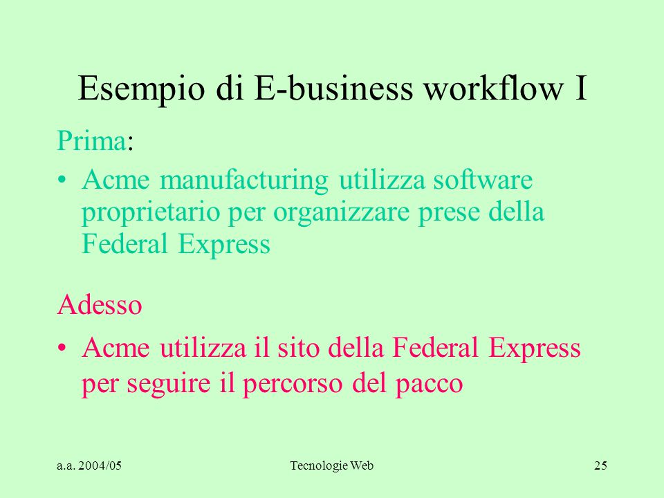 a.a. 2004/05Tecnologie Web25 Esempio di E-business workflow I Prima: Acme manufacturing utilizza software proprietario per organizzare prese della Fed