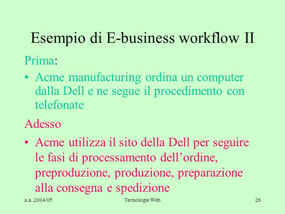 a.a. 2004/05Tecnologie Web26 Esempio di E-business workflow II Prima: Acme manufacturing ordina un computer dalla Dell e ne segue il procedimento con