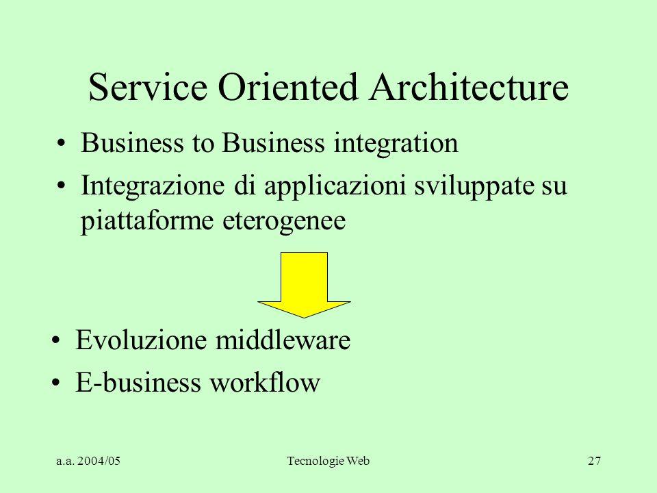 a.a. 2004/05Tecnologie Web27 Service Oriented Architecture Business to Business integration Integrazione di applicazioni sviluppate su piattaforme ete