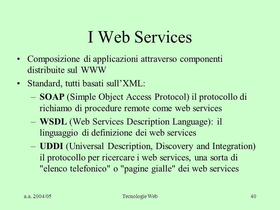 a.a. 2004/05Tecnologie Web40 I Web Services Composizione di applicazioni attraverso componenti distribuite sul WWW Standard, tutti basati sull'XML: –S