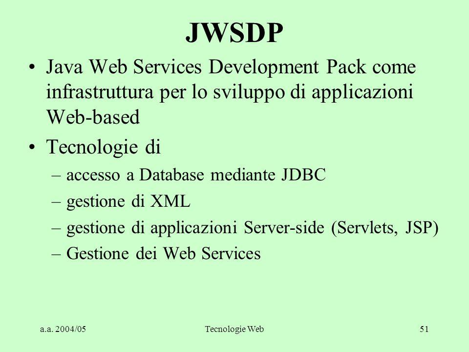 a.a. 2004/05Tecnologie Web51 JWSDP Java Web Services Development Pack come infrastruttura per lo sviluppo di applicazioni Web-based Tecnologie di –acc