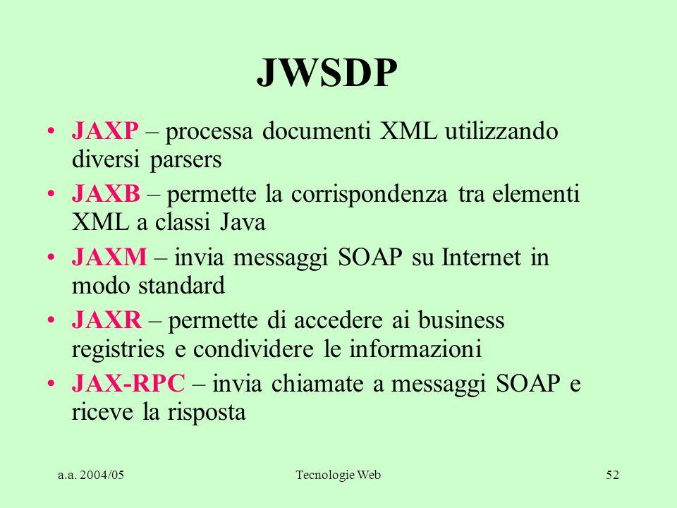 a.a. 2004/05Tecnologie Web52 JWSDP JAXP – processa documenti XML utilizzando diversi parsers JAXB – permette la corrispondenza tra elementi XML a clas