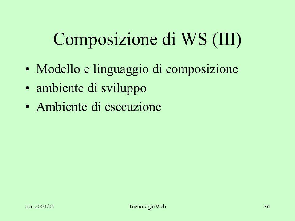 a.a. 2004/05Tecnologie Web56 Composizione di WS (III) Modello e linguaggio di composizione ambiente di sviluppo Ambiente di esecuzione