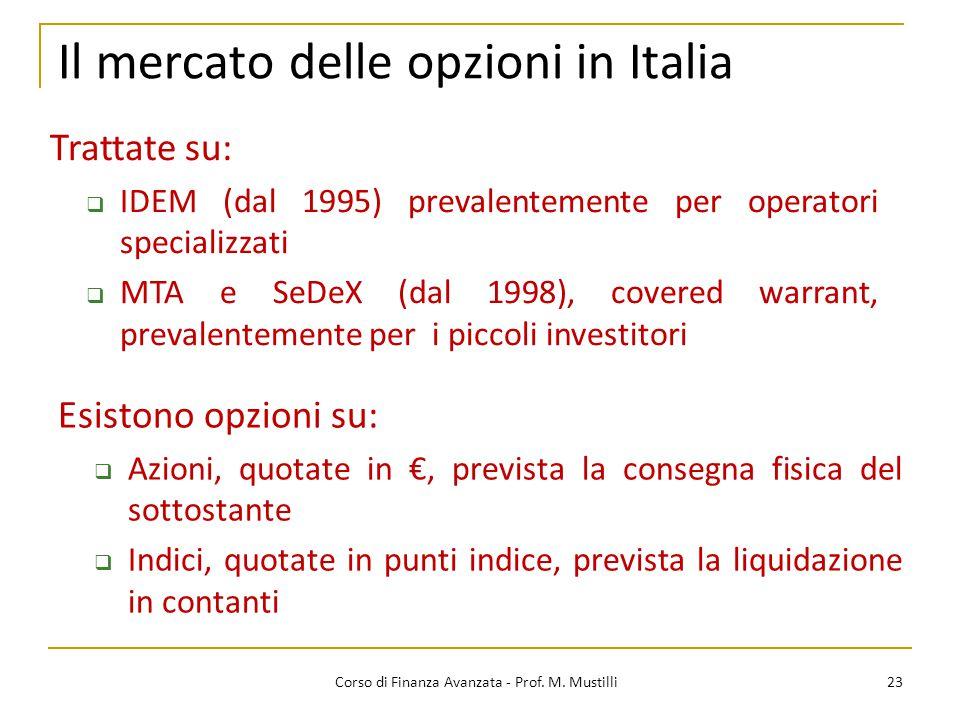Il mercato delle opzioni in Italia 23 Corso di Finanza Avanzata - Prof. M. Mustilli Esistono opzioni su:  Azioni, quotate in €, prevista la consegna