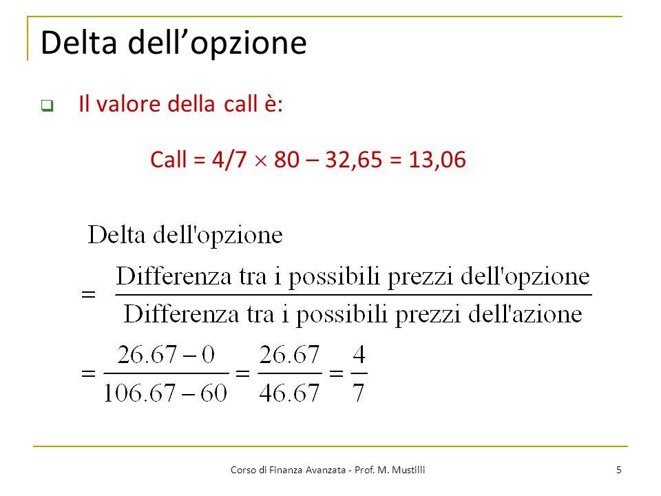 Delta dell'opzione 5 Corso di Finanza Avanzata - Prof. M. Mustilli  Il valore della call è: Call = 4/7  80 – 32,65 = 13,06