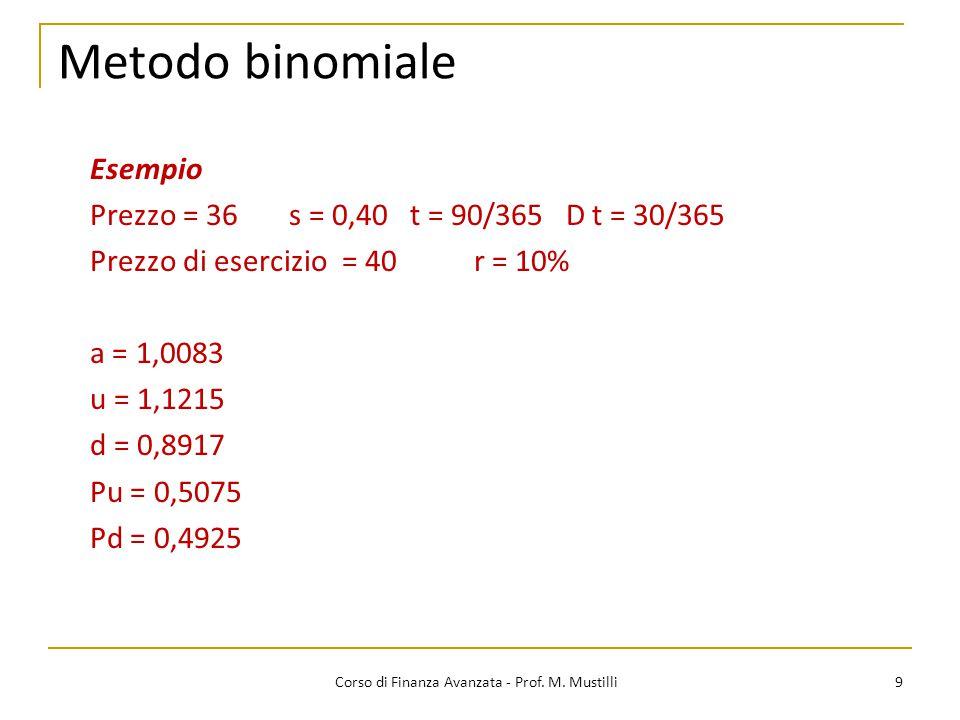 Metodo binomiale 9 Corso di Finanza Avanzata - Prof. M. Mustilli Esempio Prezzo = 36 s = 0,40 t = 90/365 D t = 30/365 Prezzo di esercizio = 40r = 10%