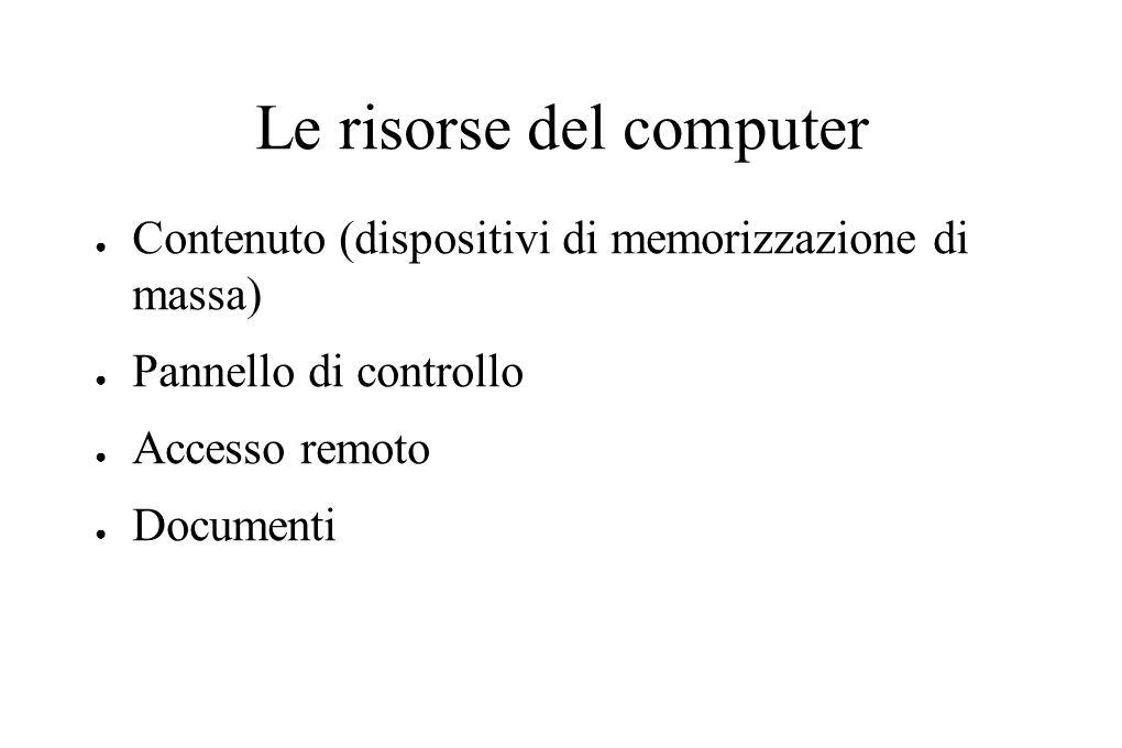 Le risorse del computer ● Contenuto (dispositivi di memorizzazione di massa) ● Pannello di controllo ● Accesso remoto ● Documenti