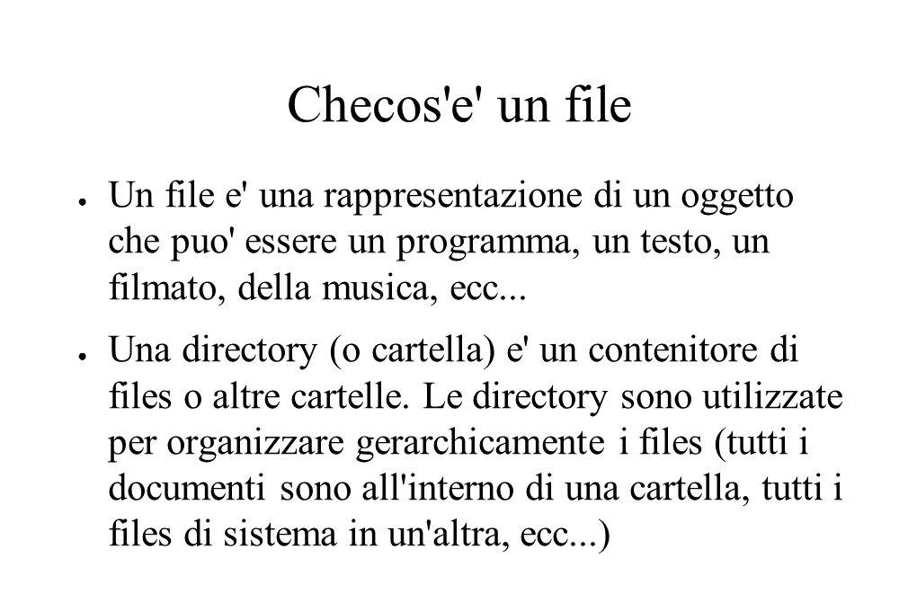 Checos e un file ● Un file e una rappresentazione di un oggetto che puo essere un programma, un testo, un filmato, della musica, ecc...