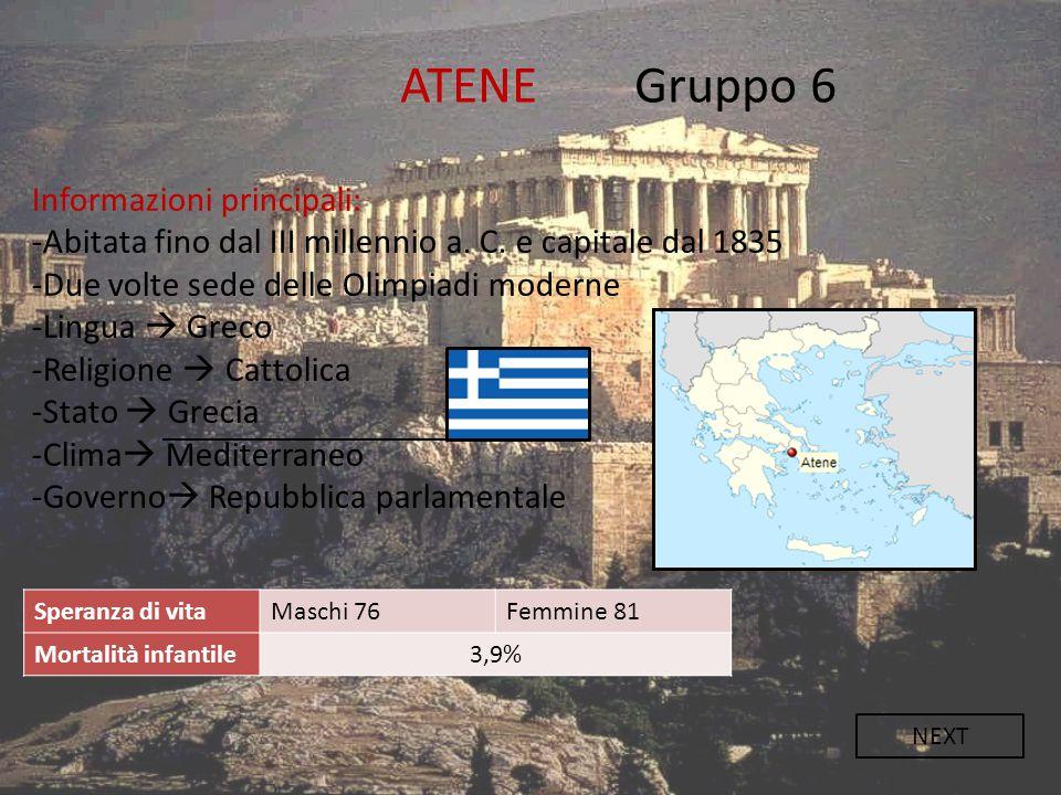 ATENE Gruppo 6 Informazioni principali: -Abitata fino dal III millennio a. C. e capitale dal 1835 -Due volte sede delle Olimpiadi moderne -Lingua  Gr