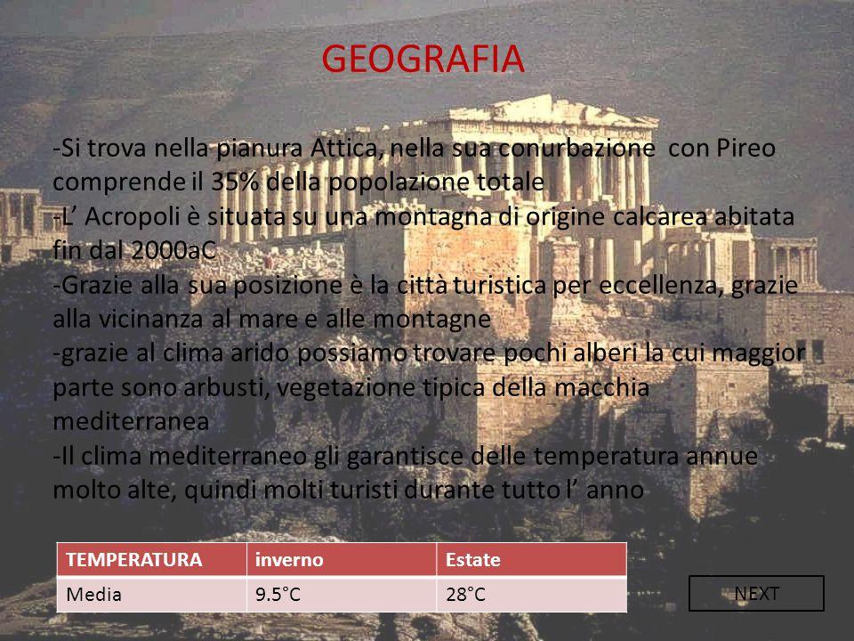 GEOGRAFIA -Si trova nella pianura Attica, nella sua conurbazione con Pireo comprende il 35% della popolazione totale -L' Acropoli è situata su una mon